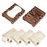 PAMIYO 2 Stück Seifenschale Holz Dusche+4 Stück Seifensäckchen,Natürliche Bambus Seifenkiste,Bio...