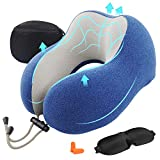 AGAKY Almohada de Viaje Almohada Cuello Espuma Memoria Sueño Suave-Tela Terapia magnética - Funda Terciopelo extraíble y Lavable- Máscara Dormir, 2 Tapones para los oídos y Bolsa de Viaje (Azul)