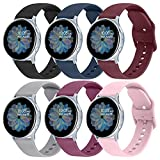 6 Pack Sport Bands for Samsung Galaxy Active 2 Watch Bands 40mm 44mm / Active 40mm Bands/Galaxy Watch 3 41mm Bands/Galaxy Watch Bands 42mm, 20mm Soft Silicone Bands for Galaxy Watch Active 2
