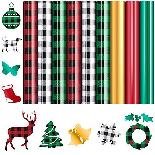 9 Pieces Iron-on Heat Transfer Vinyl Rolls Assorted Buffalo Plaid HTV Vinyl Christmas Decoration Transfer Vinyl for T-Shirts Fabric Craft DIY Decoration Supplies