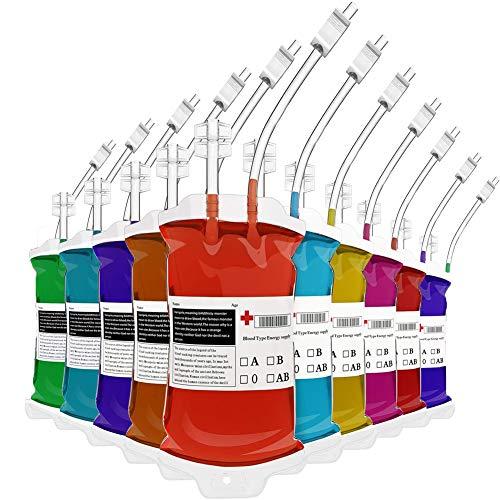 Aliga Halloween Trinkgefäß Blutbeutel 10 Stück IV Blut Taschen/Container 400 ml Heavy Duty, wiederverschließbar, für Halloween, Kostüm Requisiten, Nurses Day Party