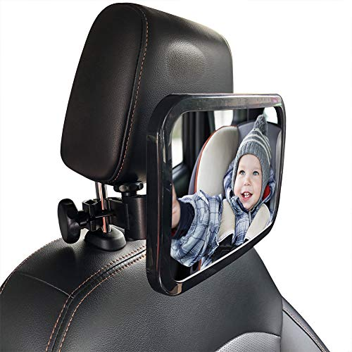 Baby Car Mirror Safety Car Seat Mirror for Rear Facing Infant with Wide Crystal Clear View Shatterproof Fully Assembled Best Newborn Safety with Secure Headrest Clamp Holder