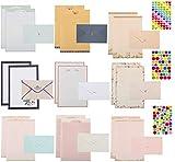 MDCEO Set di Carta da Lettere, 87 Pezzi Carta da Lettere e Buste, 6 Fogli di Carta Autoadesiva,Set di Buste in Carta per Lettere, Carta Creativo Lettera Busta, per Feste di Matrimonio, Inviti, Regali