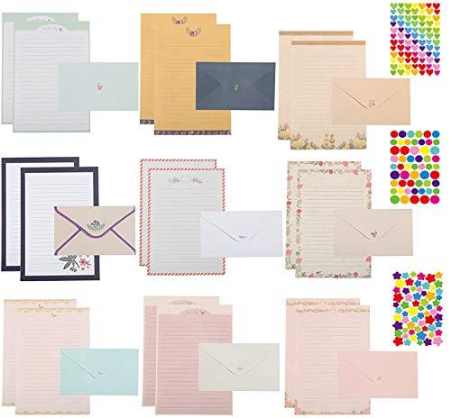 LCOUACEO Juego de papel de carta, incluye 54 unidades de papel de escritura, 27 hojas, sobres, 6 hojas adhesivas, sobres de papel de carta para la fabricación de invitación