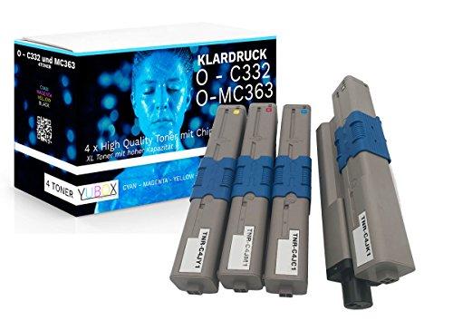 4er Set XXL Toner kompatibel zu Oki C332dn C332dnw MC363dn MC363dnw C332 MC363 – Schwarz 3.500 Seiten, CMY je 3.000 Seiten