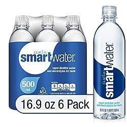 smartwater vapor distilled premium water bottles, 16.9 fl oz, 6 Pack