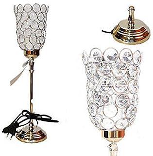 GRIS LAMPE DE TABLE SUR PIED METAL BAROQUE PAMPILLE PERLE CHEVET BRILLANT DECO CHAMBRE OU SALON