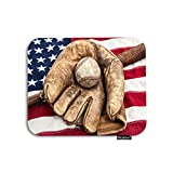 Moslion Flag Mouse Pad Vintage Baseball Bat Glove American Flags Stripe Star Independence Day USA Gaming Mouse Pad Rubber Large Mousepad for Computer Desk Laptop Father's Day 7.9x9.5 Inch Red Brown