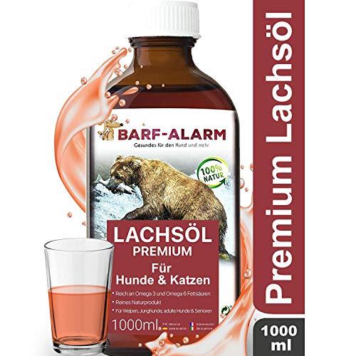 barf-alarm Premium Lachsöl für Hunde 1 Liter mit Omega 3 und Omega 6 Fettsäuren – Fischöl für den Hund & Katze – Barf Lachs für Welpen Adulte Senioren, Katzen & Sporthunde