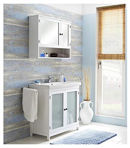 Pelipal - Maxim 15 - Badmöbel-Set - 82 cm - 3-teilig Badset Komplettset stehend mit Spiegelschrank Keramik-Waschtisch usw. - Landhausstil - in weiß Glas/weiß