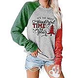 Felpa Natalizia da Donna, Albero di Natale del Tempo Stampato Moda Premium Manica Lunga Girocollo Casual Top Pullover Camicetta Tunica Camicia