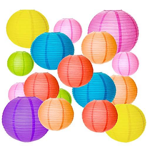 20Stk Bunt Papier Laterne, SEELOK Rund Papierlampion Kinder Papier Laternen 4 Große Lampenschirm zum Aufhängen Deko für Party Garten Hochzeit