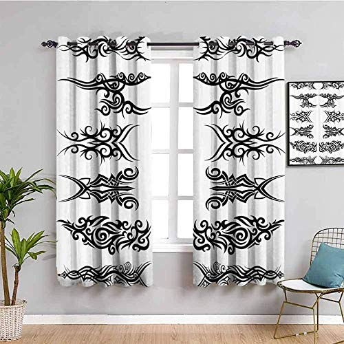 ZLYYH Cortinas Para Dormitorio Negro moda patrón patrón 229x229cm Cortina opaca 95% cortinas opacas que bloquean cortinas para ventana para habitación de niños, sala de estar, dormitorio, juego de 2