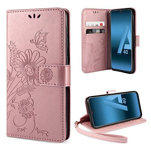 ivencase Samsung Galaxy A40 Hülle Flip Lederhülle, Samsung A40 Handyhülle Book Hülle PU Leder Tasche Hülle mit Kartenfach & Magnet Kartenfach Schutzhülle für Samsung Galaxy A40 - (Pink-Gold)