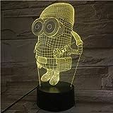 3D-Nachtlicht,3D LED Nachtlicht Lampe freundlich, Baby Geschenk Nachtlicht USB oder Lampe 7 Dekoratives Büro mit Batterie 7 Farben