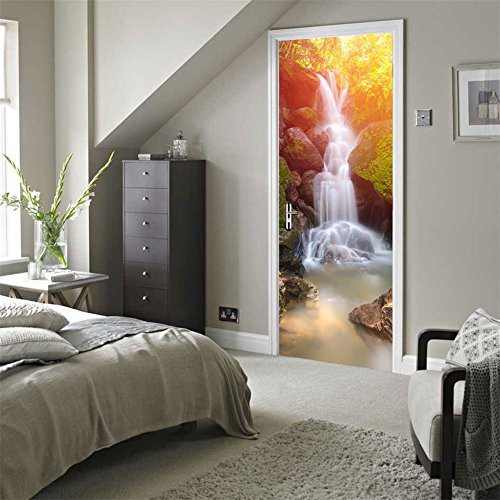 Fymural Door Wall Mural Wallpaper Stickers-Waterfall Vinyl Removable 3D Decals 30.3x78.7