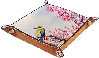 BestIdeas Panier de rangement carré 20,5 × 20,5 cm, avec oiseaux sur branches en fleur, boîte de rangement sur table pour ...