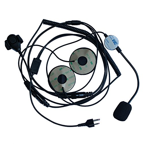 GoodQbuy 2 Pin Half/Open Face Helmet Motorcycle Earphone Headphone with Microphone for Midland/Alan Midland/Alan GMRS/FRS GXT/LXT GXT1000VP4 LXT500VP3 GXT1050VP4 2 Two Way Radios 2-pin Jack