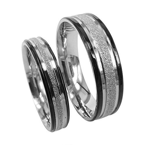 Everstone suyo y suyas anillo de titanio Couple anillos de bodas Tamaño: 7-37