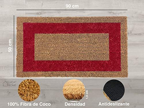 LucaHome - Felpudo de Coco Natural Cenefa de Colores con Base Antideslizante, Felpudo de Coco Liso Ideal para Interior y Exterior (Rojo, 50 x 90 cm)