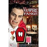 NET TOYS Denti Professionali da Applicare con Adesivo per Vestito di Carnevale da Vampiro