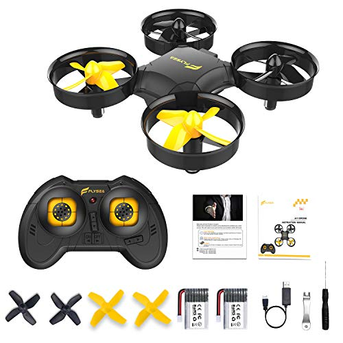 A11 Mini Drone for Kids and Beginners, RC Helicopter Quadcopter with Auto Hovering, Headless Mode, 3D Flip, Rotation, Extra Batteries and Remote Control-Black