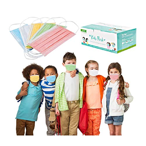 50PCS Kids Disposable Face Mask, Boy and Girl 3 Ply Filter Breathable Colorful Mask, Dustproof Masks for Coronàvịrụs Protectịon (50PCS, Multicolor For kids)