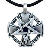 Inverted Pentacle Pentagram Star Cross Knight templar Gothic Biker German Jewelry Silver Pewter Men's Pendant Necklace Protection Amulet Safe Travel Talisman Warrior Fighter Medallion w Black PVC Cord