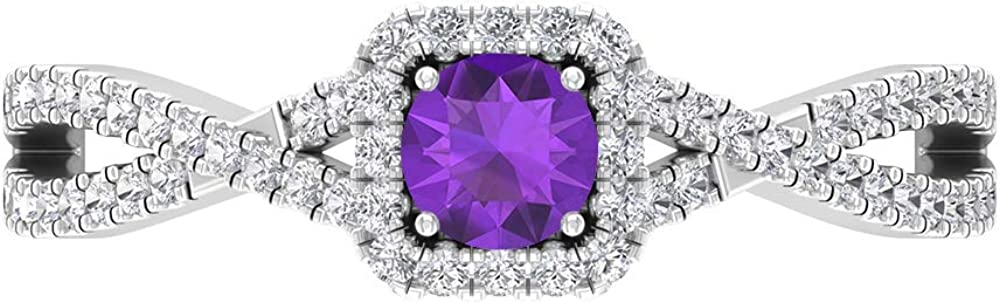 1 2 CT Solitaire Amethyst Diamond Engagement Ring HI-SI Latest item Ranking TOP6 Accent