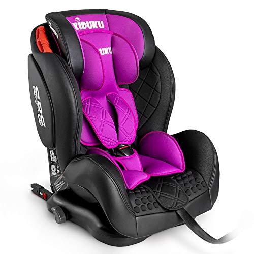 KIDUKU® Kindersitz Autokindersitz mit ISOFIX | Kinderautositz aus ECO-Leder | Autositz mitwachsend | universal | zugelassen nach ECE R44/04 | 9 kg - 36 kg 1-12 Jahre | Gruppe 1/2/3 (Lila)