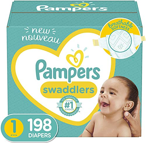 Baby Diapers Newborn/Size 1 814 lb 198 Count  Pampers Swaddlers ONE MONTH SUPPLY Packaging and Prints on Diapers May Vary