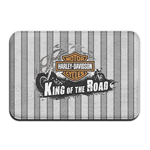 AGSIGGS Felpudo natural para interiores y exteriores, fácil de limpiar, Harley Davidson King The Road