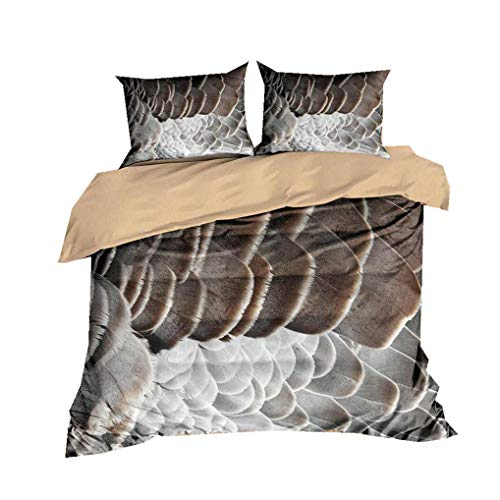 HNHDDZ 3D Animal Feather Colorful Bedding set Gray Blue Pink Yellow Personality Duvet Cover and Pillowcase Polyester Boy Girl (Style 1,Super King 220x260 cm)