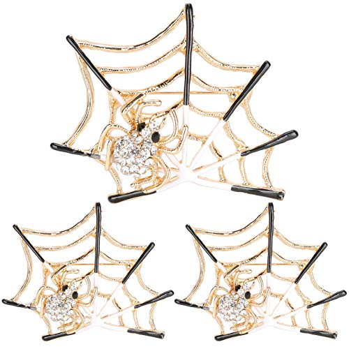 3Pcs Brooch Pins Hand‑Made Spider Shaped Alloy Corsage Jewelry Accessories for Women Girls Clothes Bags Wedding Party (White)