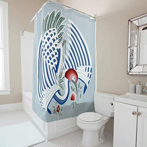 Lind88 kraan patroon bedrukte douchegordijn gemakkelijk wassen gordijnen haken inbegrepen - oosterse stijl voor bad kamer decoratieve