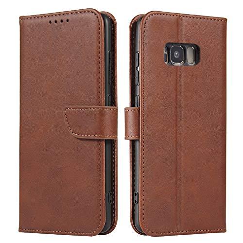 ANCASE Funda de Cuero Compatible con Samsung Galaxy S8 Marrón con Tapa Libro PU Case Cover Completa Protectora Funda para Teléfono Piel Tarjetero Modelo