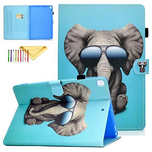 iPad 10.2 Case 2019 7th Generation, Uliking Lightweight Protective Cover [Auto Sleep/Wake] [Multi-Angle Stand] [Cards Holder] Smart Case Fit Apple iPad 10.2' 2019, Sunglass Elephant