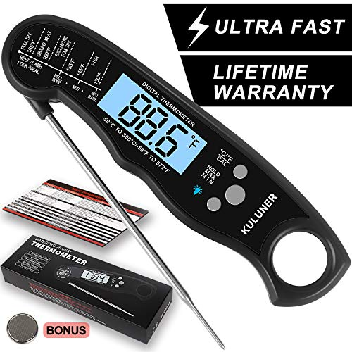 "KULUNER Waterproof Digital Instant Read Meat Thermometer with 46"" Folding Probe Backlight amp Calibration Function for Cooking Food Candy BBQ Grill LiquidsBeefblack"