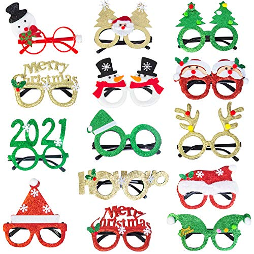 14 Pieces Christmas Glasses for kids, Christmas Decoration Costume Eyeglasses, Christmas Party Glasses Frame Seasons Themes, Annual Holiday Photos Tools