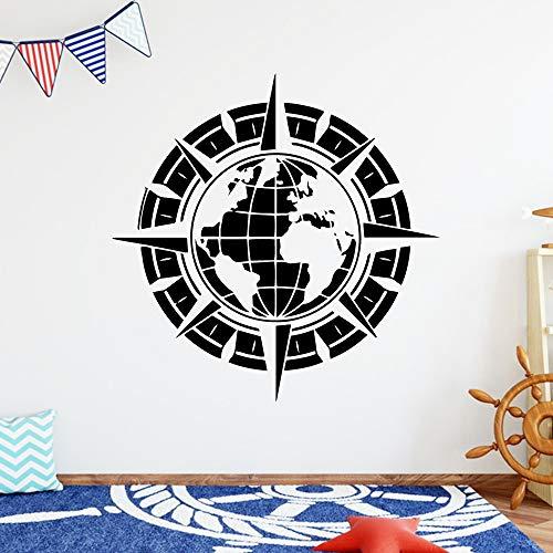 hetingyue Kompass Cartoon Erde Vinyl Aufkleber Dekoration Wohnzimmer Schlafzimmer Aufkleber Vinyl Künstler Dekoration Wandtattoo 42x42cm