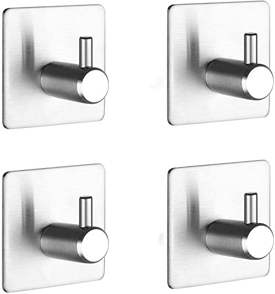 TAZANMA Adhesive Hooks Non Slip Heavy Duty Wall Hooks Waterproof Stainless Steel Wall Hangers Brushed Finish Bath Towel Hooks For Robes Hats Clothes Bags Coats 4 Packs