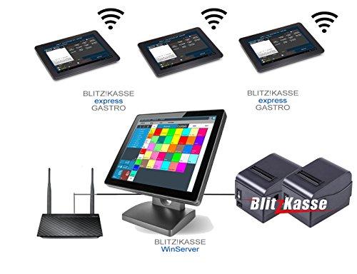 Netzwerk Mobiles Kassensystem für Restaurant: 3 Kellnerterminal, 2 Bondrucker, Hauptkasse