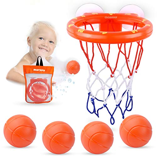 MARPPY Bath Toys, Bathtub Basketball Hoop for Toddlers Kids, Boys and Girls with 4 Soft Balls Set