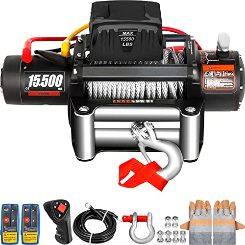 VEVOR Truck Winch 15500Ibs Electric Winch 93.5ft Cable Steel 12V Power Winch Jeep Winch with Wireless Remote Control for UTV ATV & Jeep Truck and Wrangler in Car Lift