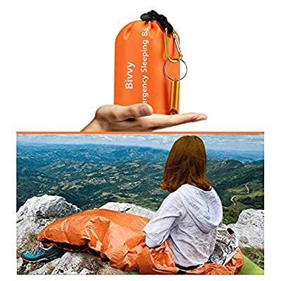 AMOYON Emergency Bivy Sack, Survival Sleeping Bag Emergency Blanket Lightweight and Compact Survival Gear for Outdoor,Hiking,Camping with Portable Drawstring Bag + Whistle + Carabiner(orange-one pack)