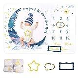 Dsaren Manta Mensual Bebe Suave Franela Manta Mensual de Hito Personalizados Fondo de Fotografía con Marco y Corona para Recién Nacido Regalo Baby Shower Niños Niñas (Luna)