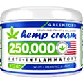 Hemp Cream for Pain Relief - 250,000 American Hemp Extract - Natural Treatment with Emu Oil, Arnica, MSM & Menthol for Muscle, Joint, Sciatica & Back Pain - Made in USA - Omega 3-6-9 Infused by Greenford