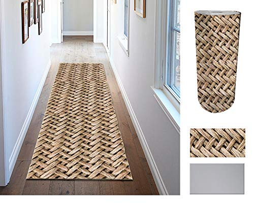 Comercial Candela Alfombra de Pasillo de Textil Resinado Antimanchas, Lavable | Base PVC Antideslizante y Aislante Diseño Mimbre (52_x_250 CM)