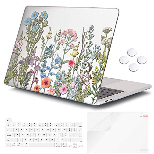 MacBook Pro 16 Inch Case 2019 Release A2141, iCasso Ultra Slim Protective Plastic Hard Shell Case with Keyboard Cover & Screen Protector for Newest Mac Pro 16'' with Touch Bar&Touch ID (Clear Weeds)