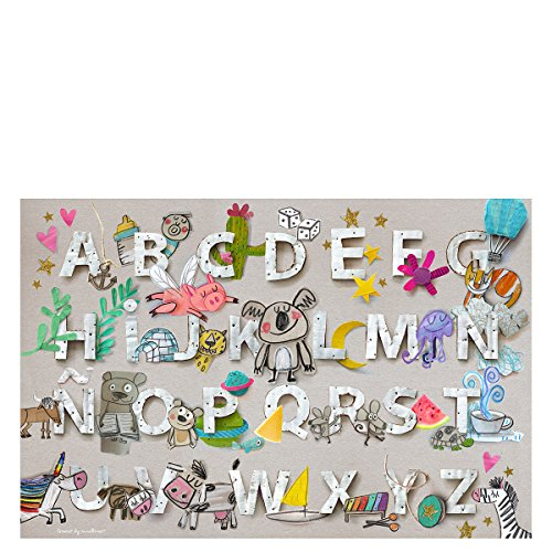 Laroom 14281 Alfombra Vinílica Infantil Diseño Abecedario, Vinilo Antiliscante, Gris, 133x200 cm